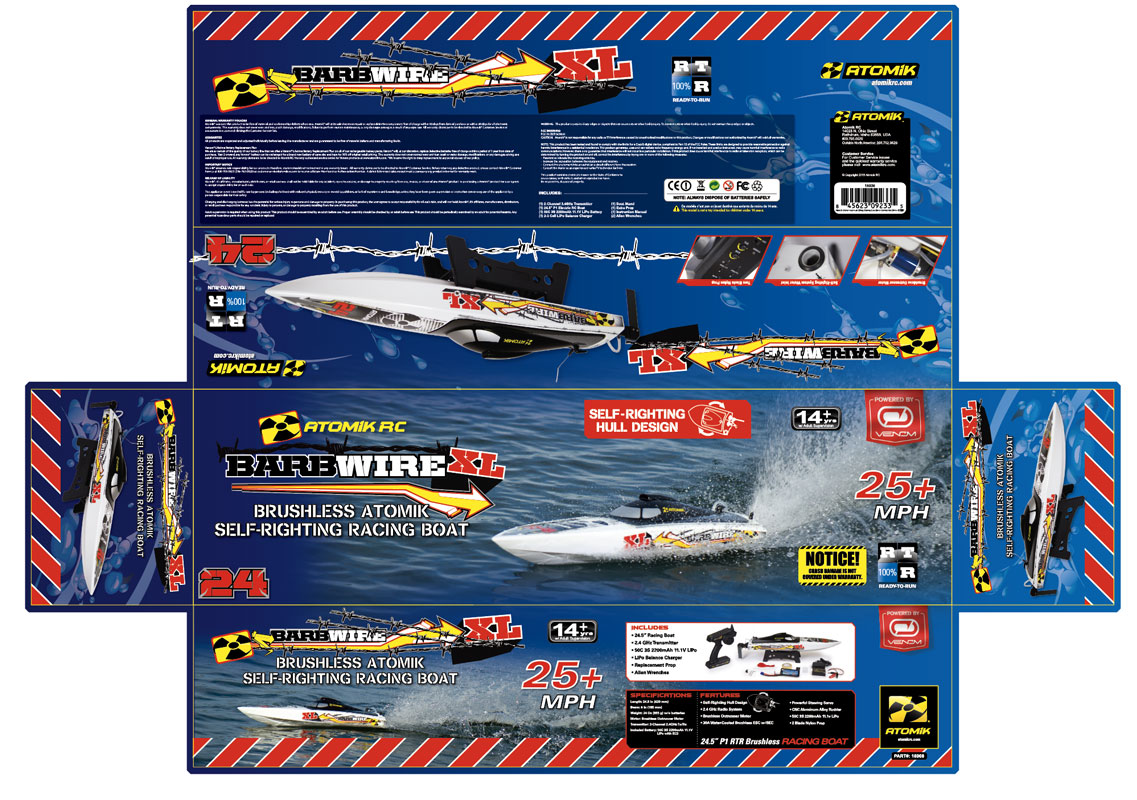 Atomik RC Barbwire XL RC boat packaging