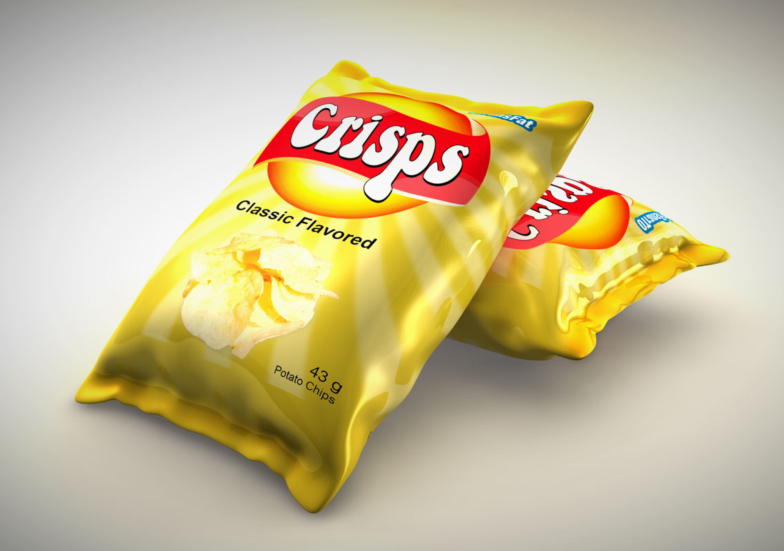 3D model of a potato chip bag