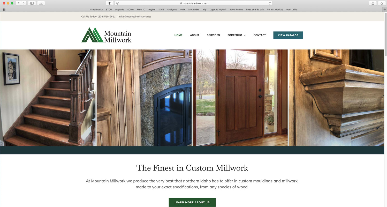 Website created for Mountain Millwork custom millwork